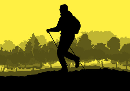 cliff edge: Man hiker Nordic walking with poles vector background forest mountain landscape