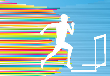 Track and field athlete competing during hurdle race barrier running vector background concept