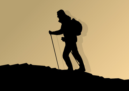 nordic nature: Man hiking in mountains adventure nordic walking with poles in nature vector background illustration landscape