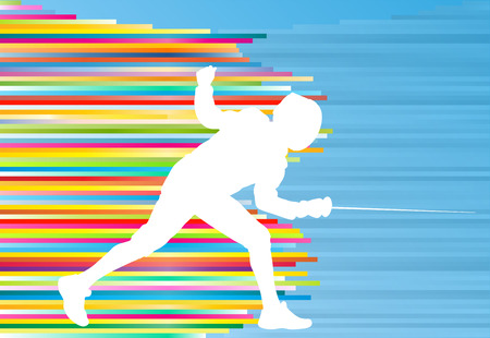 duel: Fencing man duel abstract lines vector background concept illustration