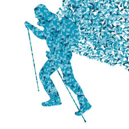 fragments: Man hiking adventure nordic walking with poles vector red illustration concept made of triangular fragments Illustration