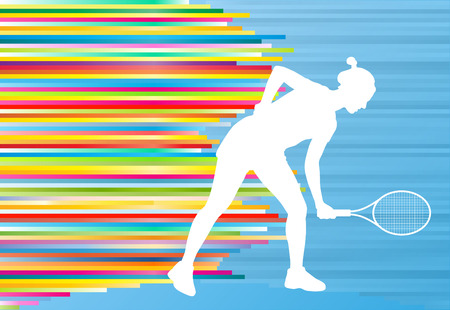 backhand: Woman playing tennis vector background concept