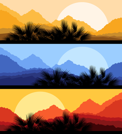 caribbean beach: Palm leaves nature landscape romantic sunset background vector