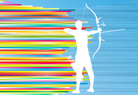 Archer man training with bow vector background abstract illustration