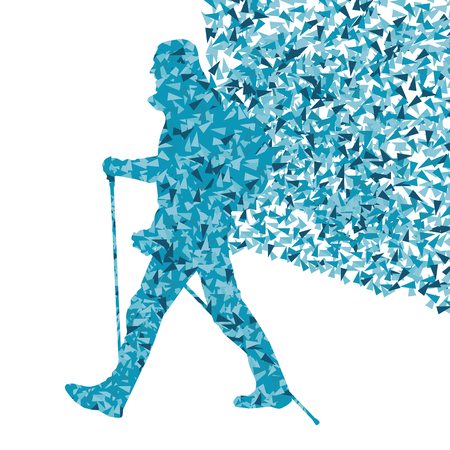 sole: Man hiking adventure nordic walking with poles vector red illustration concept made of triangular fragments Illustration
