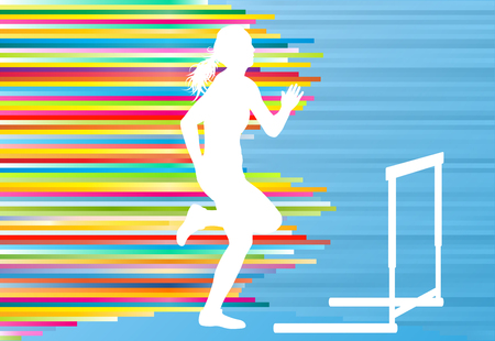 obstacles: Female athlete jumping over hurdles, overcoming obstacles vector background illustration