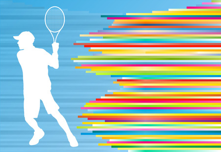 tennis serve: Woman playing tennis vector background concept