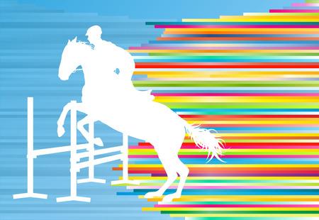 Paardensport paard springen vector abstracte afbeelding achtergrond met kleurrijke lijnen
