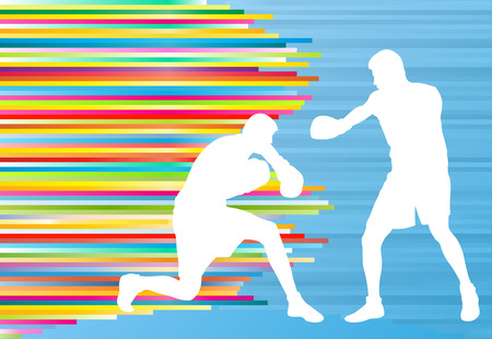 Professional boxer man fight match vector abstract background Illustration