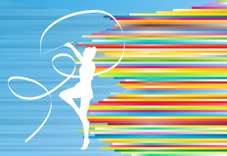 rhythmic gymnastic: Gymnastic girl with ribbon abstract vector background colorful stripes illustration
