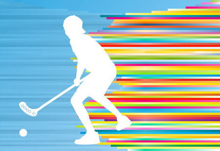 indoors: Floorball player man silhouette hockey with stick and ball illustration vector colorful concept with blue background and colorful stripes Illustration