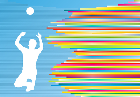 Volleyball player man silhouette abstract vector background illustration Illustration