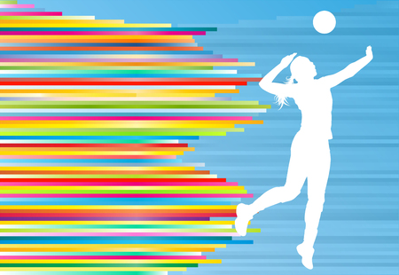 Volleyball player woman silhouette abstract vector background illustration