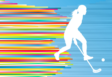 Floorball player woman silhouette hockey with stick and ball illustration vector colorful concept with blue background and colorful stripes Illustration