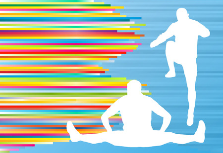 warm up: Athletic exercise man stretching warm up vector background concept Illustration