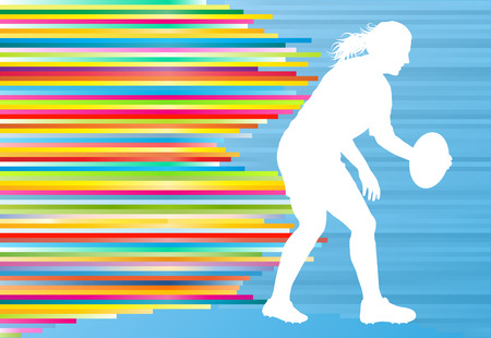 sport woman: Rugby woman player active sport silhouette abstract background vector illustration with stripes Illustration