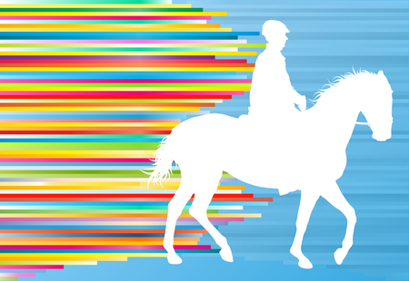 equestrian sport: Equestrian sport horse jumping vector abstract illustration background with colorful lines