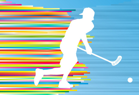 Floorball player man silhouette hockey with stick and ball illustration vector colorful concept with blue background and colorful stripes Illustration