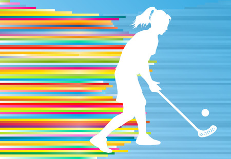 floorball: Floorball player woman silhouette hockey with stick and ball illustration vector colorful concept with blue background and colorful stripes Illustration