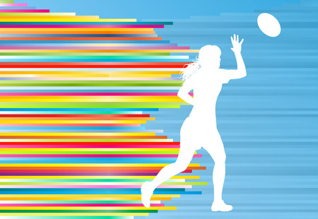 Rugby woman player active sport silhouette abstract background vector illustration with stripes Illustration
