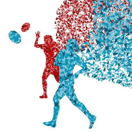 tough girl: Rugby woman player active sport silhouette abstract background vector illustration made with fragments
