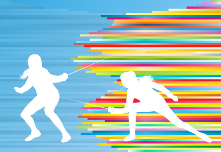 Fencing sport woman training with sword vector abstract background illustration with colorful stripes