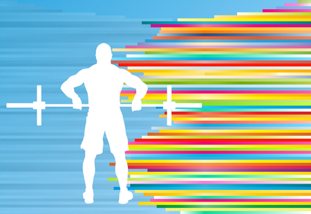 Man powerlifting barbell crossfit gym vector abstract background Illustration