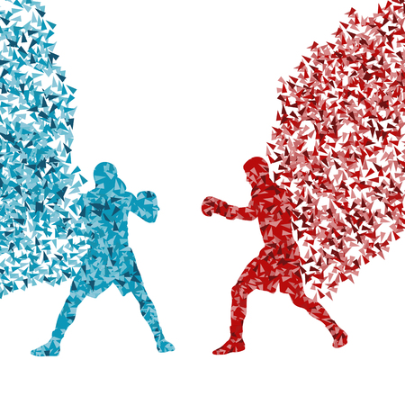 Professional boxer man fight match vector abstract background made of fragments