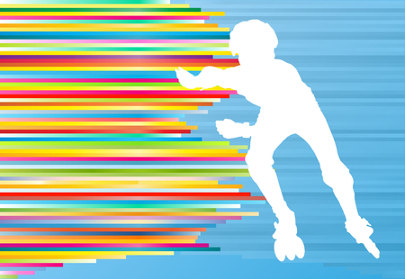 inline skate: Boy driving roller skates abstract vector background illustration