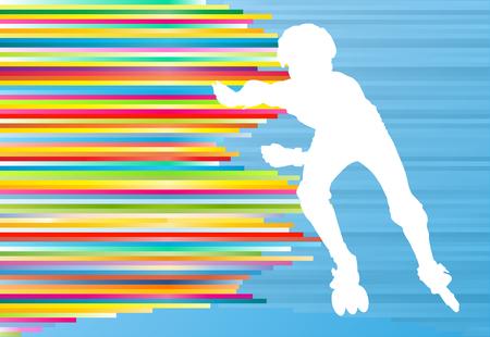 niño en patines: Muchacho que conduce el rodillo patines abstracta del fondo del vector Vectores