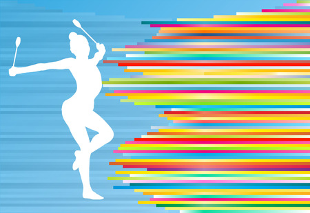 colorful stripes: Female gymnast posing with Indian clubs vector background concept illustration with colorful stripes on blue Illustration