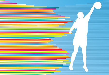 full figure: Basketball player woman silhouette vector abstract background illustration with colorful stripes