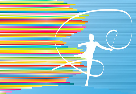 gymnastic: Gymnastic girl with ribbon abstract vector background colorful stripes illustration
