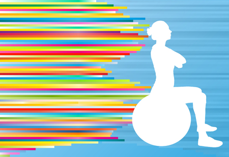 Woman fitness exercises on fitness ball vector abstract illustration striped background 向量圖像