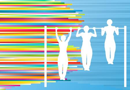 pullups: Man pull-ups bar exercising gym vector abstract background