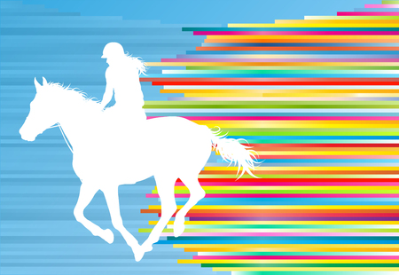 Paardensport paard springen vector abstracte afbeelding achtergrond met kleurrijke lijnen Vector Illustratie