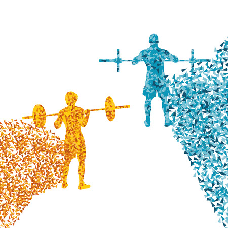 Man powerlifting barbell crossfit gym vector abstract background made of fragments Illustration