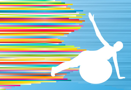 pilates ball: Woman fitness exercises on fitness ball vector abstract illustration striped background Illustration