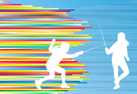 fencing sword: Fencing sport woman training with sword vector abstract background illustration with colorful stripes