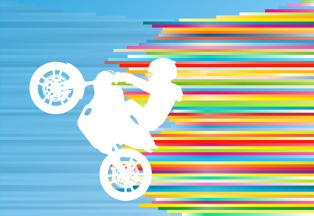 Motorcycle performance extreme stunt driver man sport bike vector abstract blue background illustration with colorful stripes Illustration