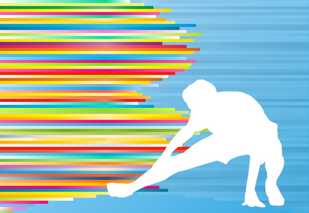 Athletic exercise man stretching warm up vector background concept Illustration