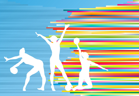 Gymnastic girl with ball abstract vector background colorful stripes illustration