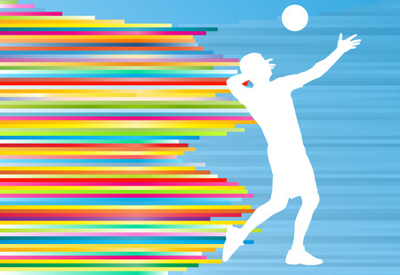 Volleyball player man silhouette abstract vector background illustration Иллюстрация