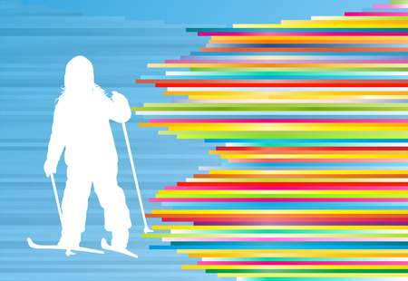 winter fun: Children skiing kid winter fun vector abstract background illustration with colorful stripes