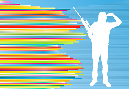 colorful stripes: Man shooting with a long rifle hunter sport vector abstract background illustration with colorful stripes on blue