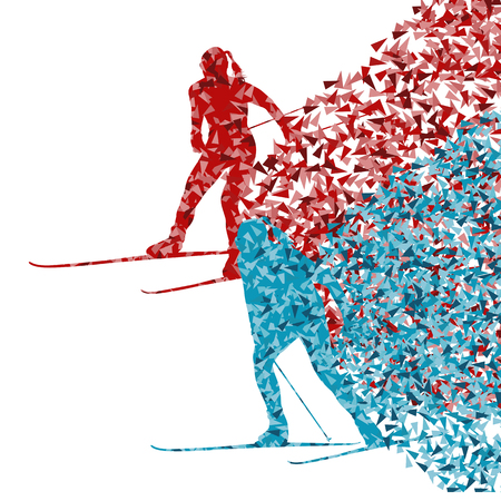 impetuous: Skiing women abstract vector background illustration made of fragments isolated on white