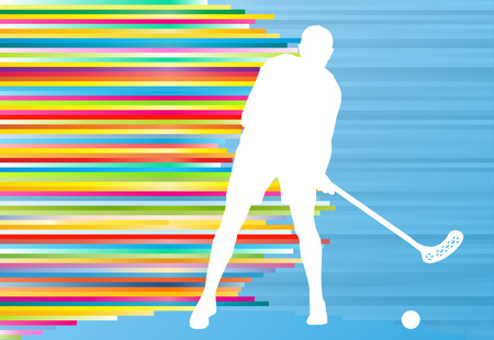 floorball: Floorball player man silhouette hockey with stick and ball illustration vector colorful concept with blue background and colorful stripes Illustration