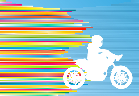 colorful background: Motorcycle performance extreme stunt driver man sport bike vector abstract blue background illustration with colorful stripes Illustration