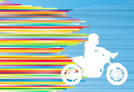 motorizado: prestaciones de la moto deportiva hombre conductor especialista extrema moto vector resumen ilustración de fondo azul con rayas de colores