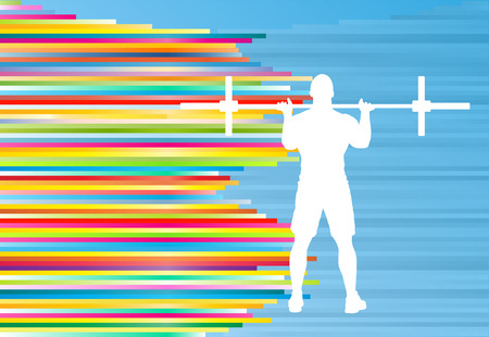 dedicate: Man powerlifting barbell crossfit gym vector abstract background Illustration